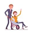 Man pushing a lady in the wheelbarrow vector image vector image
