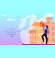 man with megaphone on modern cityscape background vector image vector image