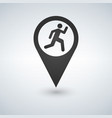 map pointer man running icon flat design style vector image