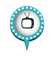 monochrome silhouette of tv in circular speech vector image vector image