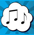 music notes sign black icon in bubble on vector image vector image