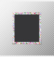 photo frame with flying confetti vector image vector image