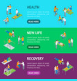 physiotherapy people banner horizontal set 3d vector image vector image