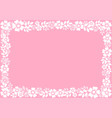 pink background with decorative frame of white vector image vector image
