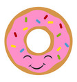 pink cute donut on white background vector image vector image