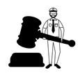 police man court hammer vector image