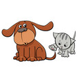puppy and kitten characters cartoon vector image vector image