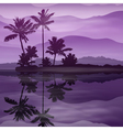 Purple background with sea and palm trees at night vector image vector image