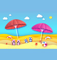 red and pink parasol - umbrella in paper cut style vector image vector image