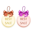 Round tag with bow vector image