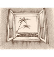 sea view from window hand drawing vector image vector image