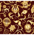 Seamless background with golden flowers vector image