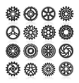 set gear icons on black background vector image vector image