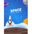 space explorer flat kids backdrop - cosmos stars vector image vector image