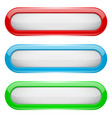 white menu buttons with colored frame oval glass vector image