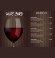 wine card menu design with realistic glass vector image vector image