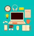 with desk and laptop flat design vector image vector image