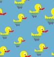 Ducks swim in pond seamless pattern Waterbird in vector image