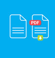 flat pdf file icon and pdf download icon vector image