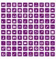 100 media icons set grunge purple vector image vector image