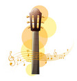 acoustic guitar with music notes in background vector image vector image
