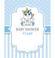 baby shower boy cute unicorn vector image vector image