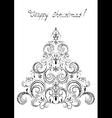 Black Christmas tree with snowflakes vector image