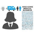Business Lady Icon with 1000 Medical Business vector image