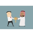 Businessmen fighting over a golden trophy cup vector image