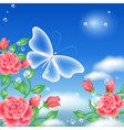 butterfly and roses vector image vector image