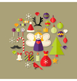 Christmas Flat Icons Set Over Light Brown vector image vector image