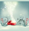 christmas holiday background with a 2021 and vector image vector image