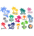 colorful palm tree silhouette logo set vector image vector image