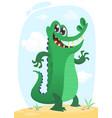 cool funny cartoon crocodile character vector image vector image