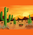desert landscape background with cactuses vector image vector image