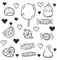 doodle candy many various hand draw vector image vector image