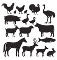 farm animals silhouette icons vector image vector image