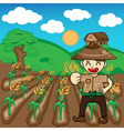 Farmer and rice a harvest cartoon vector image