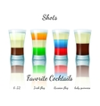 Favorite shot cocktails set isolated vector image vector image