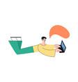 flat boy lying at floor near big laptop vector image vector image