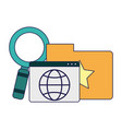 folder with website and magnifying glass vector image vector image