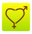 gender signs in heart shape brown icon at vector image vector image