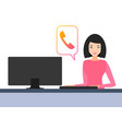 girl behind the computer online call online chat vector image