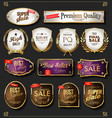 golden sale labels retro vintage design vector image vector image