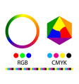 gradation of colors in the circle rgb and cmyk vector image