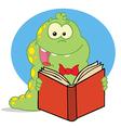 Green Caterpillar Reading An Entertaining Book vector image