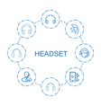 headset icons vector image vector image