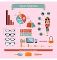 Hipster infographics elements set with geek girl vector image vector image