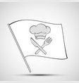 icon chef hat knife and fork on a white flag vector image vector image