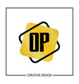 initial letter op logo template design vector image